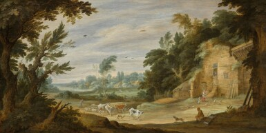 ALEXANDER KEIRINCX   Landscape with a herder and his cows on the edge of a wood, with a mother and child feeding chickens beside a building