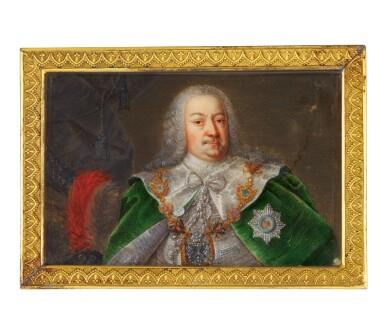 View 1. Thumbnail of Lot 228. A portrait miniature of Count Hermann Carl Graf von Keyserling, probably German, circa 1750-1760.