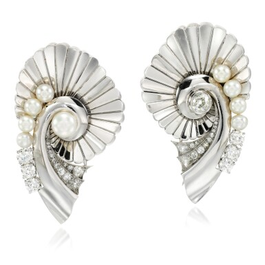 View 1. Thumbnail of Lot 160. Pair of pearl and diamond brooches.