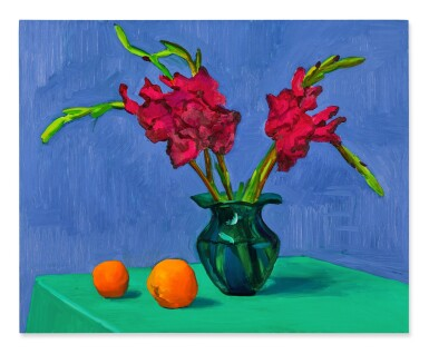 View 1. Thumbnail of Lot 4. Gladioli with Two Oranges.