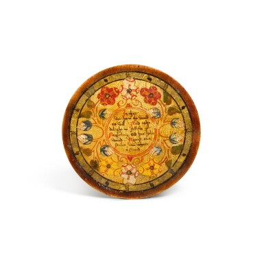 View 15. Thumbnail of Lot 1. A set of twelve Elizabethan polychrome decorated sycamore roundels, late 16th/early 17th century.