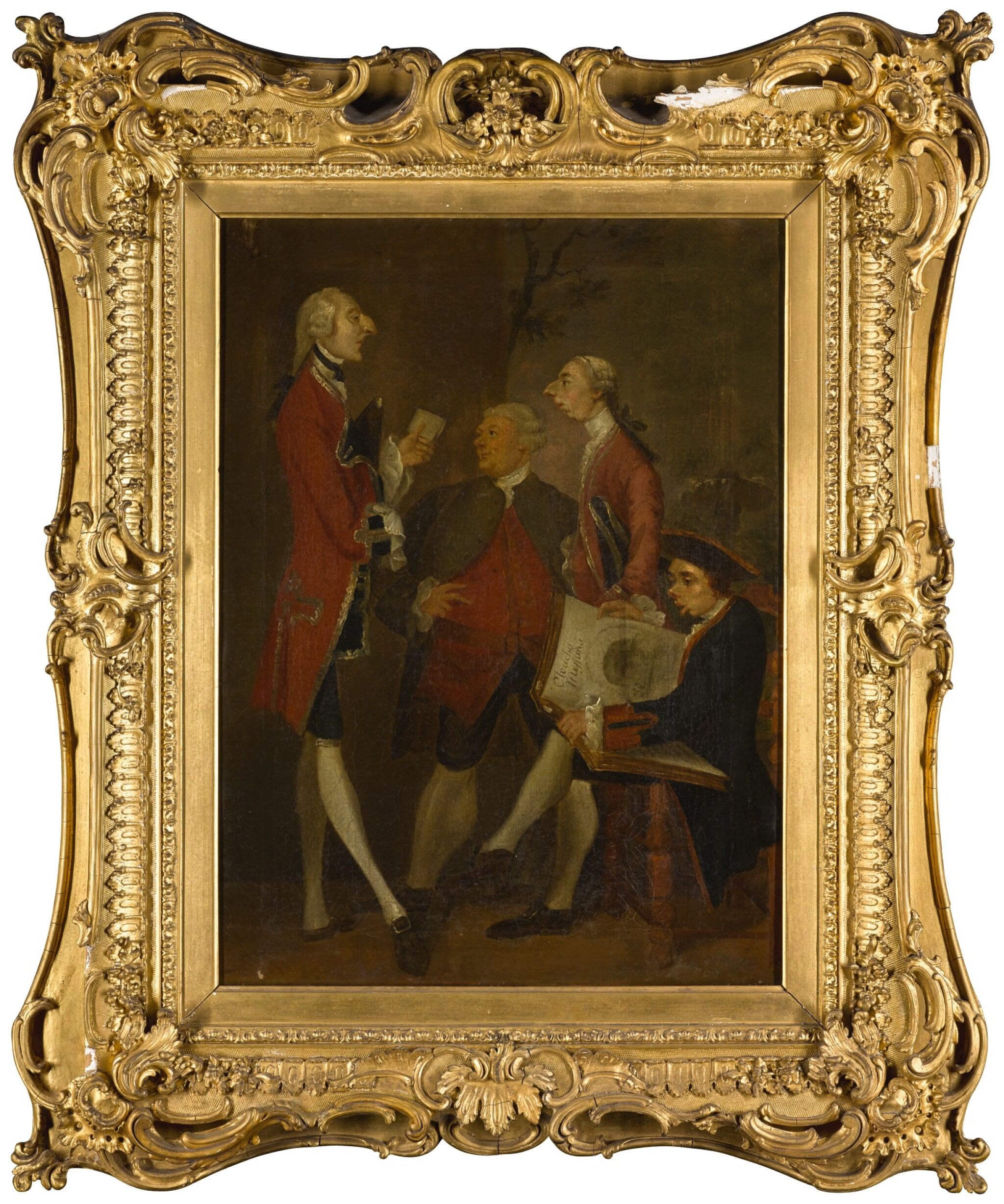 View full screen - View 1 of Lot 57. AFTER SIR JOSHUA REYNOLDS | CARICATURE OF THOMAS BRUDENELL-BRUCE, 1ST EARL OF AILESBURY, THE HON. JOHN WARD, JOSEPH LEESON, LATER 2ND EARL OF MILLTOWN, AND JOSEPH HENRY OF STRAFFAN.
