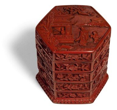 View 1. Thumbnail of Lot 141. A CARVED CINNABAR LACQUER TIERED BOX AND COVER MING DYANSTY, 16TH CENTURY | 明十六世紀 剔紅庭院高士圖四層六方蓋盒.