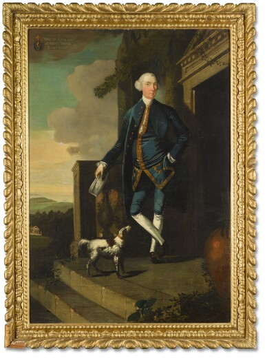 EDWARD ALCOCK | PORTRAIT OF WALTER KING (D. 1792) OF NAISH HOUSE, SOMERSET; PORTRAIT OF HIS WIFE MRS KING, WITH A WHIPPET (D. 1787)