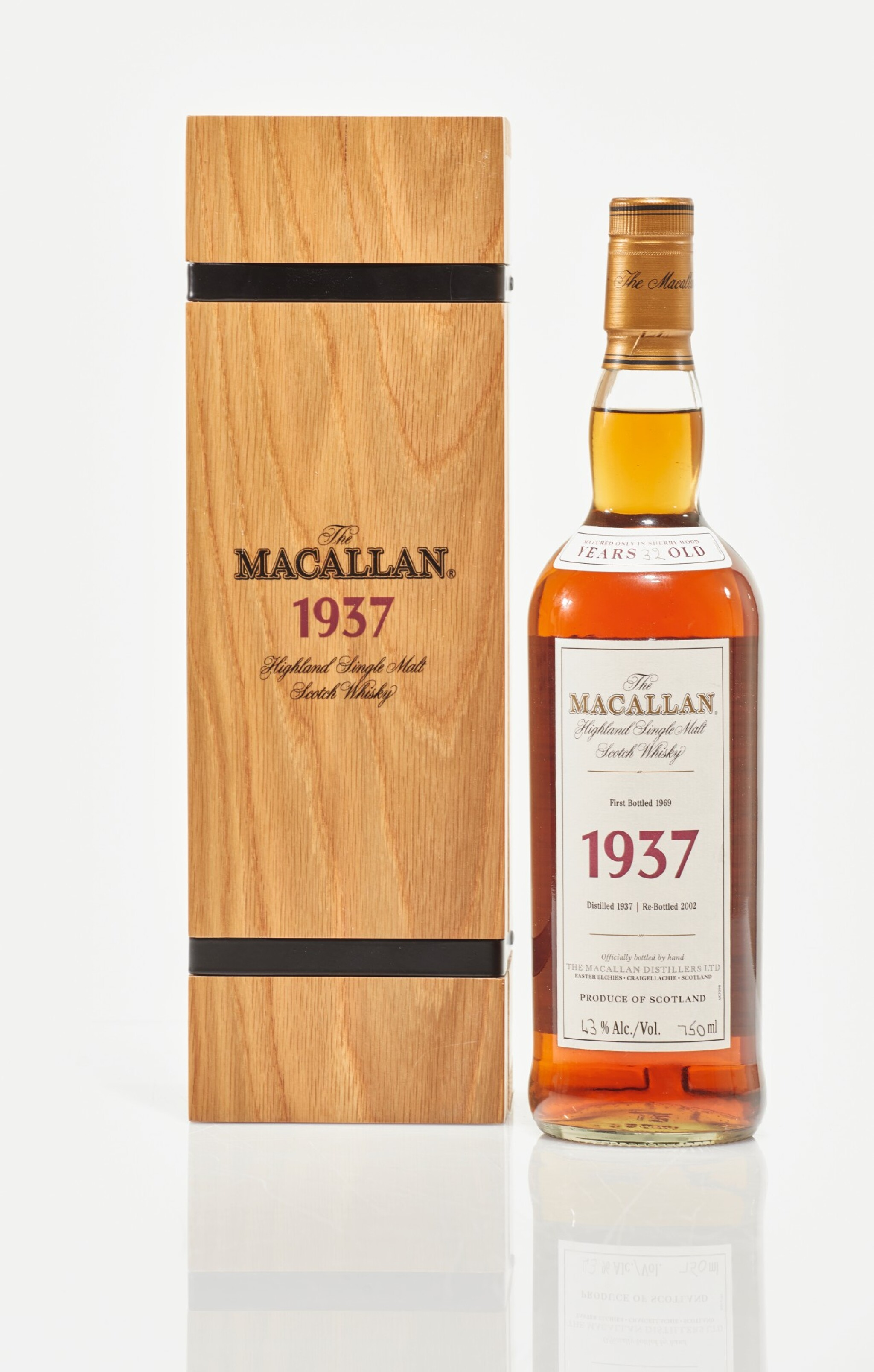 View full screen - View 1 of Lot 12. The Macallan Fine & Rare 32 Year Old 43.0 abv 1937 (1 BT75cl).