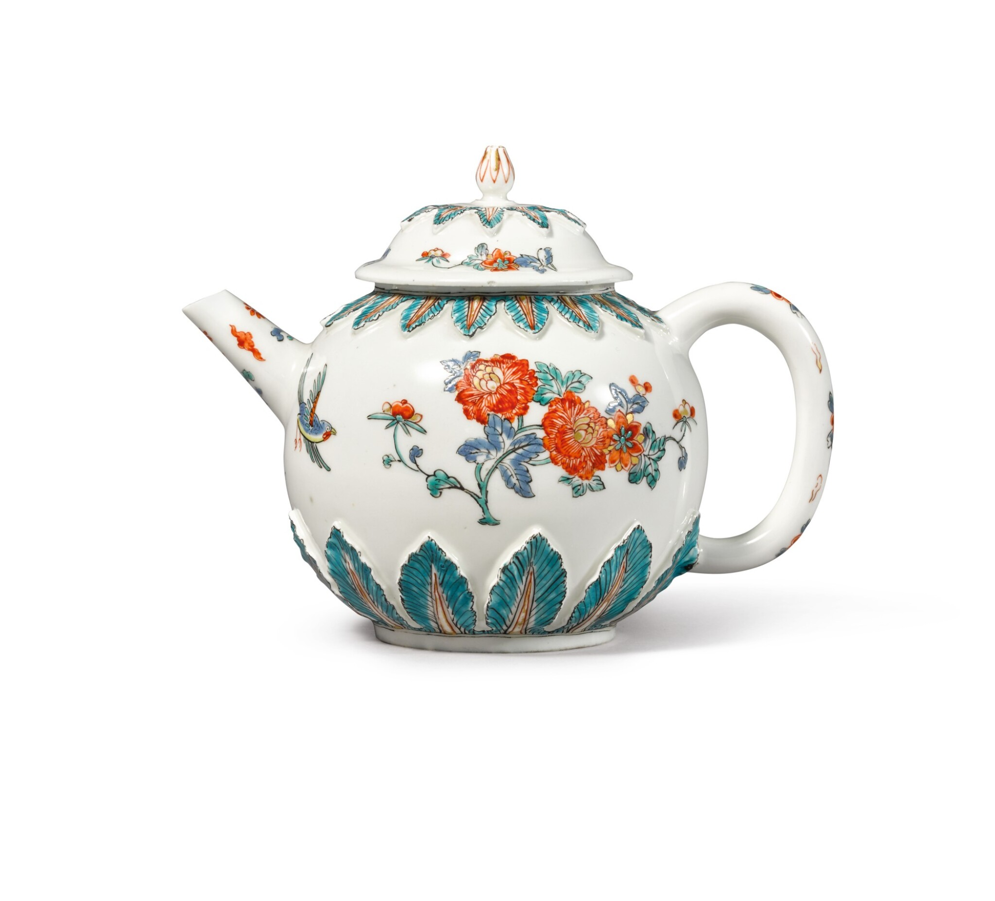 View full screen - View 1 of Lot 306. A MEISSEN DUTCH-DECORATED TEAPOT AND COVER, THE PORCELAIN CIRCA 1715, THE DECORATION CIRCA 1730-40.