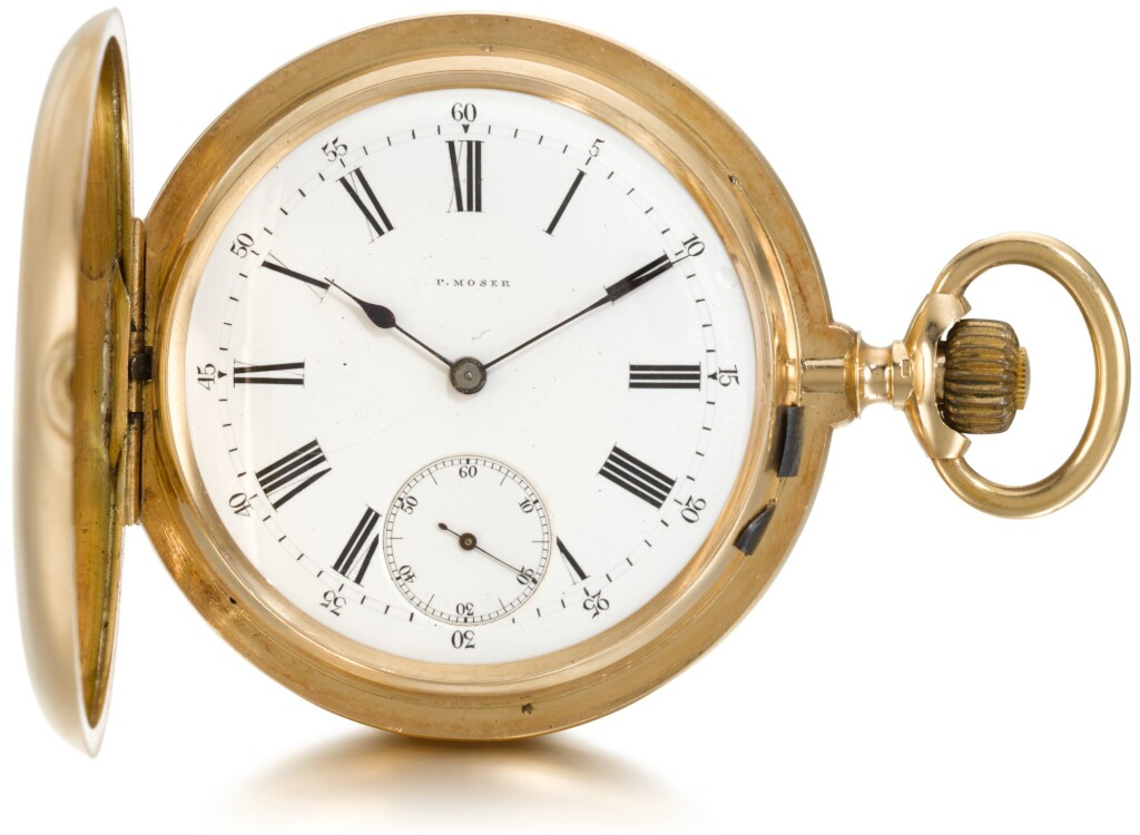 P. MOSER | A PINK GOLD HUNTING CASED KEYLESS LEVER WATCH  CIRCA 1920, NO. 64992