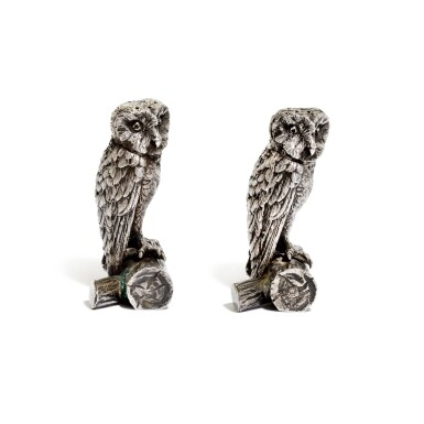 View 2. Thumbnail of Lot 33. A pair of Victorian silver owl pepperettes , George Heath & Co., London, 1891.