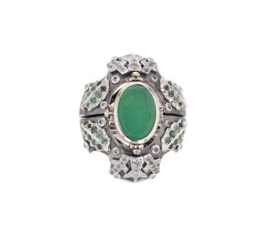 Elie Top, Gem-Set, Diamond and Chrysoprase Ring [Bague Pierres de Couleur, Diamants et Chrysoprase], 'Eau d'Hiver'