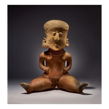 NAYARIT SEATED FEMALE FIGURE, LAGUNILLAS TYPE D PROTOCLASSIC, CIRCA 100 BC-AD 250