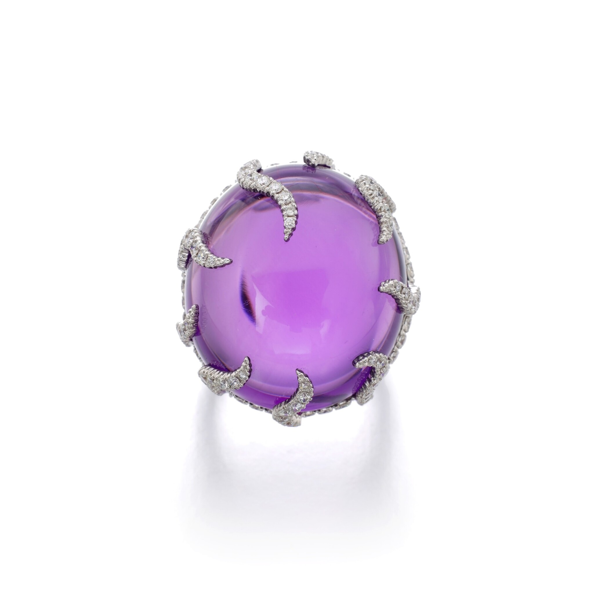 View full screen - View 1 of Lot 41. MICHELE DELLA VALLE | AMETHYST AND DIAMOND RING.