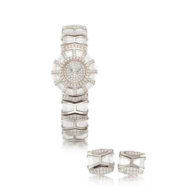 View 1. Thumbnail of Lot 1101. CORUM   LIMELIGHT, REFERENCE 37.780.69 M233 A WHITE GOLD, ROCK CRYSTAL AND DIAMOND-SET BRACELET WATCH WITH A PAIR OF EARRINGS CONVERTED FROM EXTRA LINKS, CIRCA 1993.