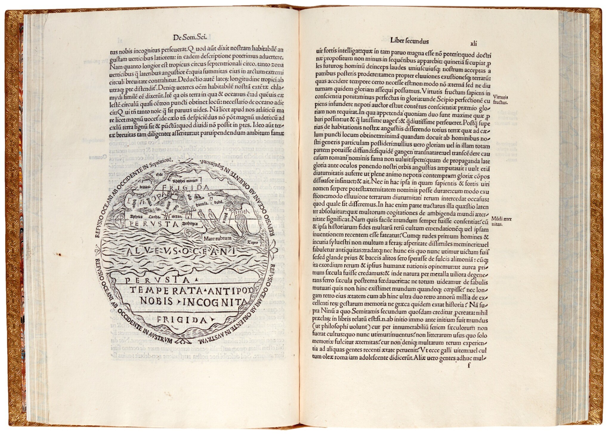 View full screen - View 1 of Lot 215. Macrobius, In somnium Scipionis, Venice, 1501, modern tooled calf in plateresque style.