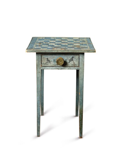 View 3. Thumbnail of Lot 1438. VERY FINE FEDERAL BLUE PAINT-DECORATED PINE ONE-DRAWER STAND, NEW ENGLAND, CIRCA 1820.