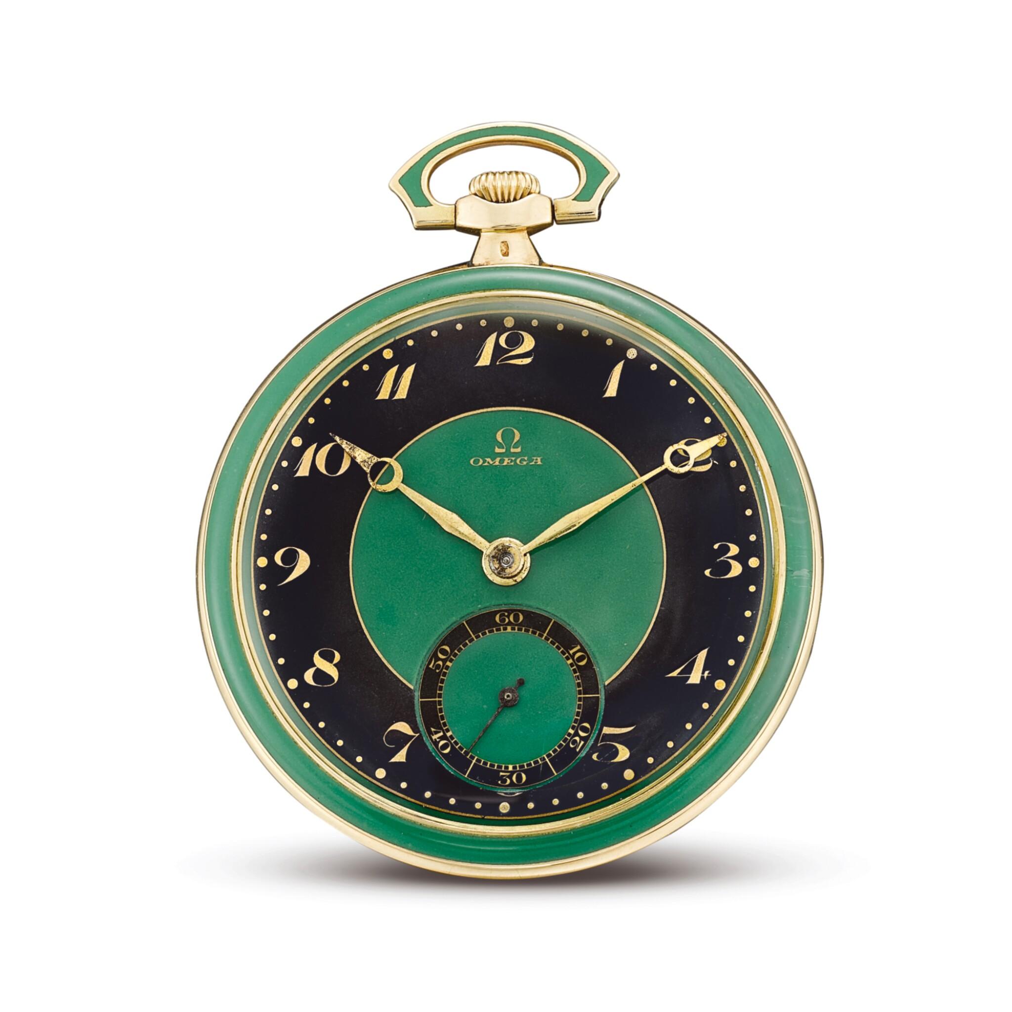 View full screen - View 1 of Lot 2268. OMEGA | A YELLOW GOLD, BLACK AND GREEN ENAMEL OPENFACE WATCH, CIRCA 1920  | 奧米茄 | 黃金黑色及綠色琺瑯懷錶,機芯編號6337800,錶殼編號6919752,約1920年製.