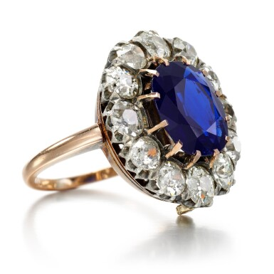 View 2. Thumbnail of Lot 76. Sapphire and diamond ring.