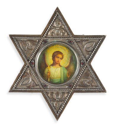 A Fabergé silver icon in the shape of a star, Moscow, 1908-1917