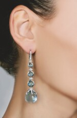 PAIR OF BLUE TOPAZ AND DIAMOND EARRINGS, MICHELE DELLA VALLE
