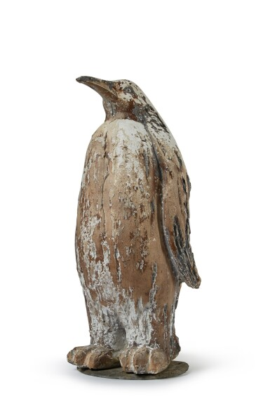 View 1. Thumbnail of Lot 132. A PAINTED PLASTER FIGURE OF AN EMPEROR PENGUIN, POSSIBLY FRENCH, MID-20TH CENTURY.