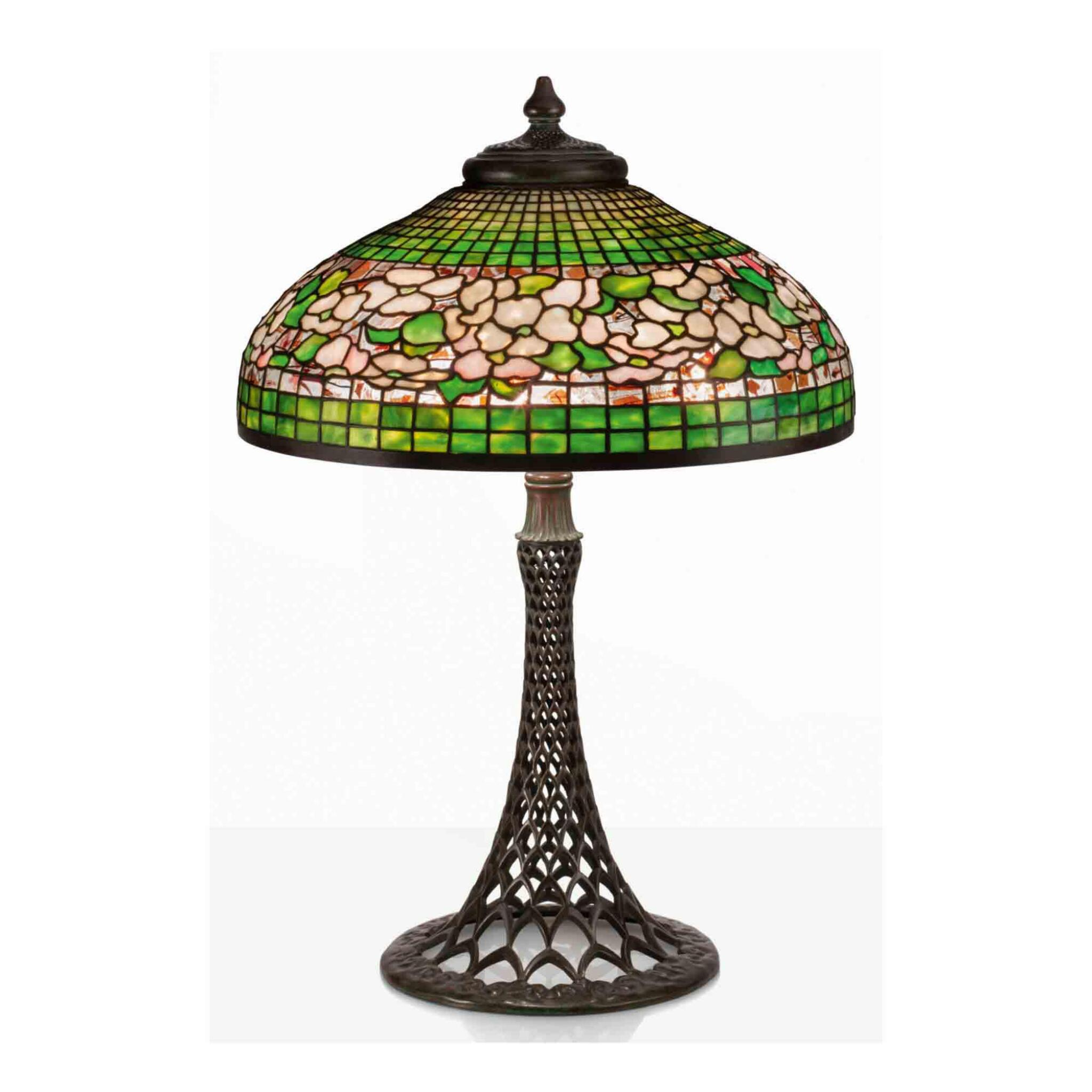 """View full screen - View 1 of Lot 16. """"Banded Dogwood"""" Table Lamp."""