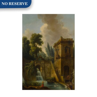 View 1. Thumbnail of Lot 77. View of a grand waterfall in Tivoli, with washerwomen in the foreground.