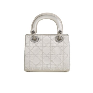 View 3. Thumbnail of Lot 750. DIOR | CREAM LADY DIOR MINI BAG IN SATIN WITH MINI PEARL BEADING CANNAGE AND CRYSTAL TRIM.