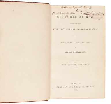 Dickens, Sketches by Boz, 1839, first one volume edition, presentation copy inscribed to Upcot