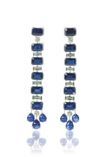 PAIR OF KYANITE, SAPPHIRE AND DIAMOND EARRINGS, MICHELE DELLA VALLE