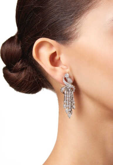 View 2. Thumbnail of Lot 14. PAIR OF DIAMOND EARCLIPS.