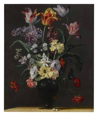 View 3. Thumbnail of Lot 143. JEAN-MICHEL PICART     TULIPS, DAFFODILS, CARNATIONS, POPPIES, ANEMONES, AND OTHER FLOWERS IN A GLASS VASE ON A WOODEN LEDGE;  TULIPS, LILIES, DAFFODILS, LILACS, AND OTHER FLOWERS IN A GLASS VASE ON A WOODEN LEDGE: A PAIR.