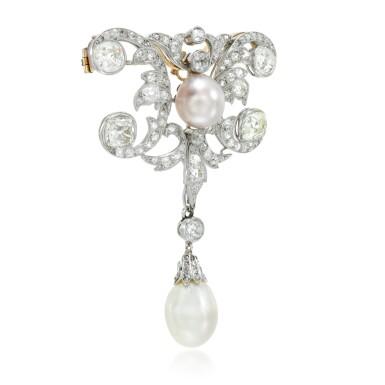 View 2. Thumbnail of Lot 6. Natural pearl and diamond brooch, circa 1910.