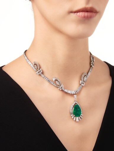 View 2. Thumbnail of Lot 459. EMERALD AND DIAMOND PENDANT-NECKLACE, OSCAR HEYMAN & BROTHERS | 祖母綠配鑽石吊墜項鏈,Oscar Heyman & Brothers.