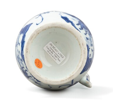 View 5. Thumbnail of Lot 378. A blue and white ewer, China, Qing Dynasty, 19th century.