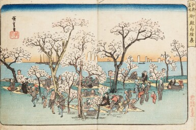 View 2. Thumbnail of Lot 270. Ando Hiroshige Japon | 日本 歌川広重 《東海道五拾三次之内・沼津・黄昏圖》、 《江都名所・御殿山遊興》、 《東都名所・芝赤羽根之雪》 | Ando Hiroshige, three prints from various series: Numazu (Numazu, tasogare zu) from the series Fifty-three Stations of the Tokaido, ca. 1833-1834 ; Snow at Akabane Bridge in Shiba, from the series Famous Places of the Eastern Capital, ca. 1837; Cherry blossoms at Goten-yama, from the series Famous Places in Edo, ca. 132-1834.