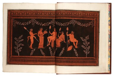 View 3. Thumbnail of Lot 54. Hamilton and d'Hancarville. Collection of Etruscan, Greek, and Roman Antiquities. [1766-67]. 4 volumes. red morocco.