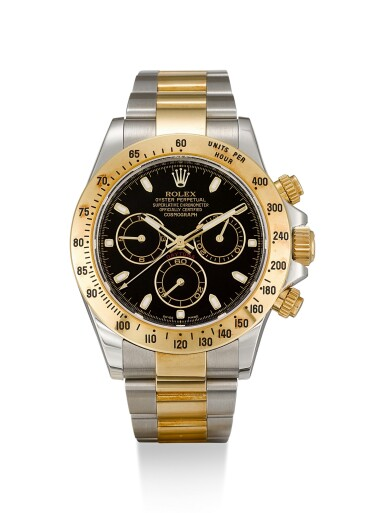 View 1. Thumbnail of Lot 8. ROLEX |  COSMOGRAPH DAYTONA, REFERENCE 116523, A YELLOW GOLD AND STAINLESS STEEL CHRONOGRAPH WRISTWATCH WITH BRACELET, CIRCA 2012.