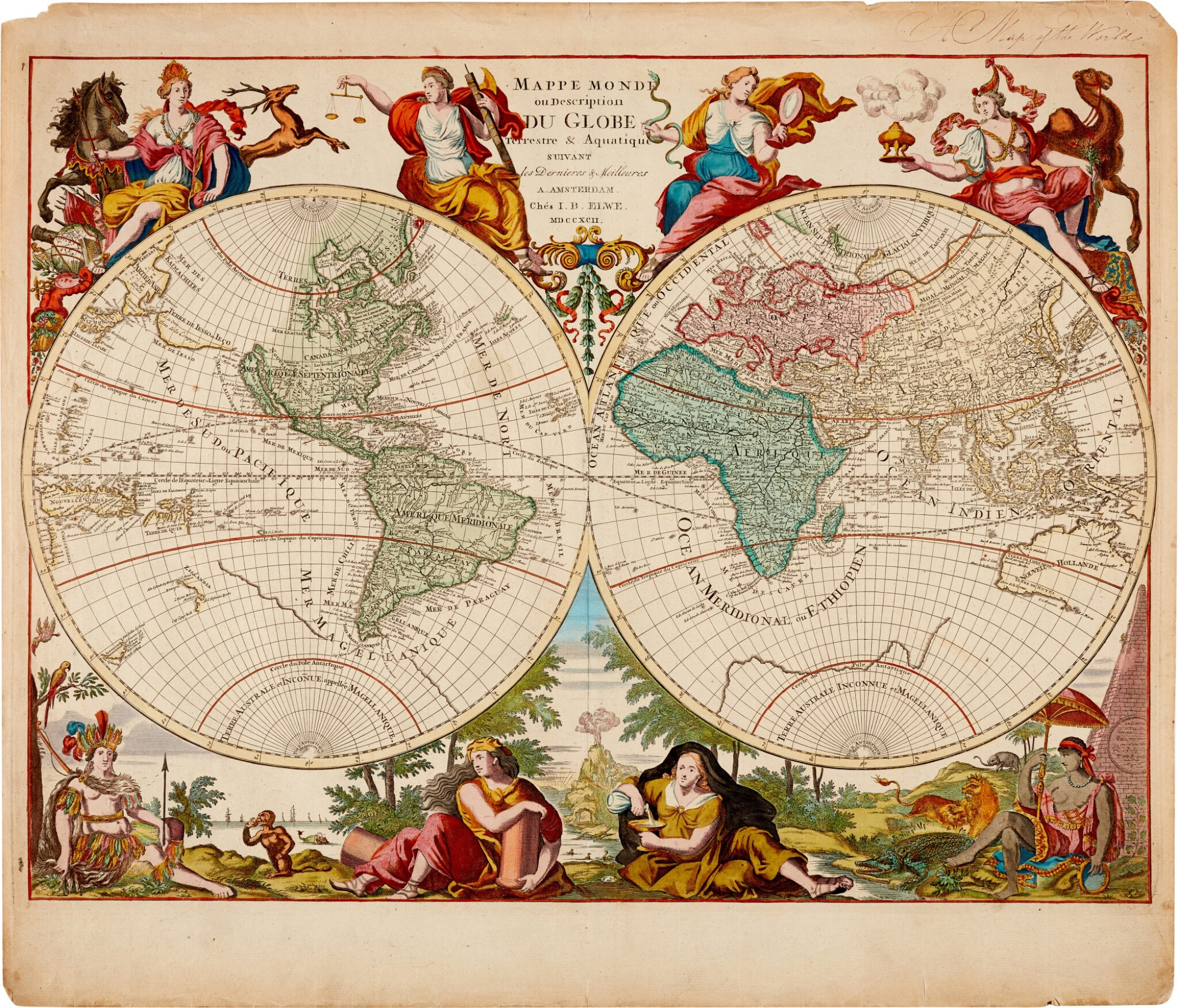 View full screen - View 1 of Lot 57. WORLD MAP | Elwe, Mappe Monde, 1792.