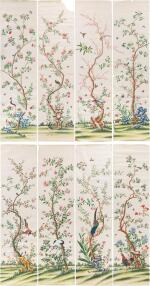 A SUITE OF TWENTY-FOUR CHINESE-EXPORT WALLPAPER PANELS, CIRCA 1790-1810