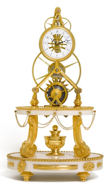 A GILT-BRONZE AND WHITE MARBLE GREAT WHEEL SKELETON TIMEPIECE, FRENCH, EARLY 19TH CENTURY