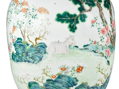 View 5. Thumbnail of Lot 162. A FINE AND RARE LARGE LIME-GREEN GROUND FAMILLE-ROSE 'THREE RAMS' VASE QING DYNASTY, DAOGUANG PERIOD SHENDETANG HALL MARK   清道光 綠地粉彩通景三羊開泰雙螭耳大瓶 《慎德堂製》款.