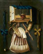 JOHANNES LEEMANS | TROMPE-L'ŒIL STILL LIFE WITH A BIRD CAGE AND HUNTING EQUIPMENT