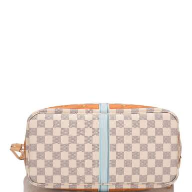View 6. Thumbnail of Lot 213. Louis Vuitton Damier Azur St. Tropez Summer Trunk Neverfull MM of Coated Canvas and Vachetta Leather Trim with Polished Golden Brass Hardware.