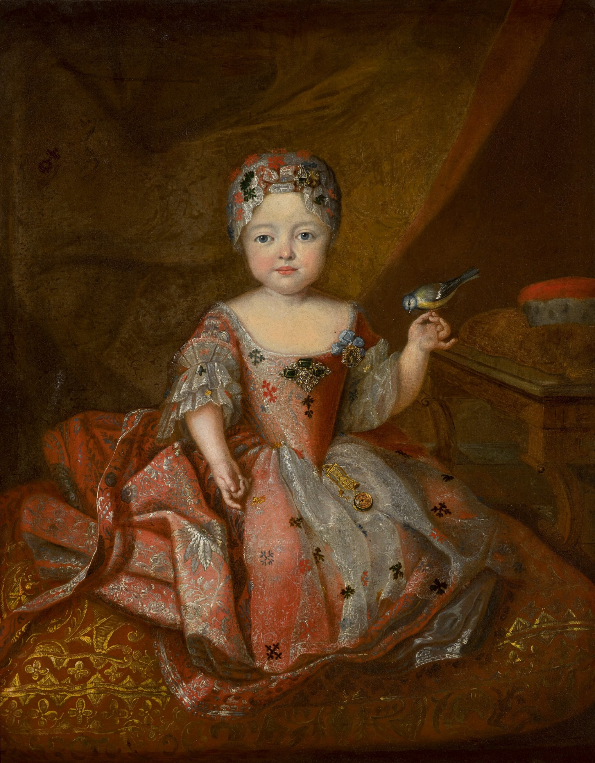 View full screen - View 1 of Lot 194. WORKSHOP OF ANTOINE PESNE | Portrait of a girl, full-length, wearing a pink embroidered dress, holding a songbird.