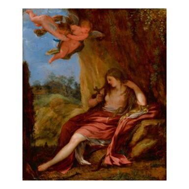 View 1. Thumbnail of Lot 56. ROMAN SCHOOL, 17TH CENTURY   THE PENITENT MARY MAGDALENE IN A CAVE WITH TWO PUTTI.