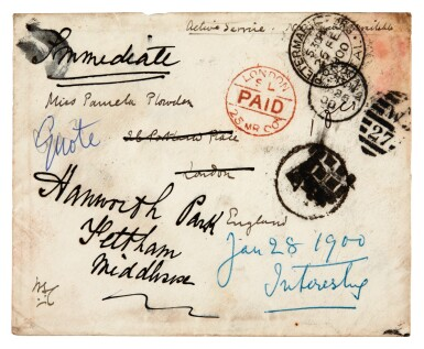 View 7. Thumbnail of Lot 26. CHURCHILL | autograph letter signed, to Pamela Plowden, 1900.