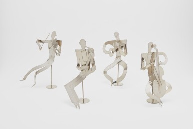 FOUR AUSTRIAN NICKEL-PLATED JAZZ BAND FIGURES