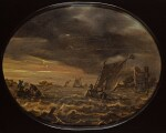 ABRAHAM SUSENIER | A moonlit river landscape with fishermen in choppy waters