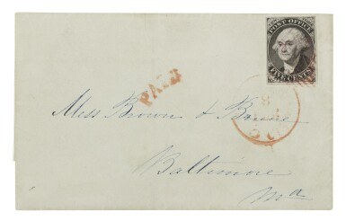 View 1. Thumbnail of Lot 11. Postmaster's Provisional, New York, NY. 1847 5c Black on gray wove paper (9X3).