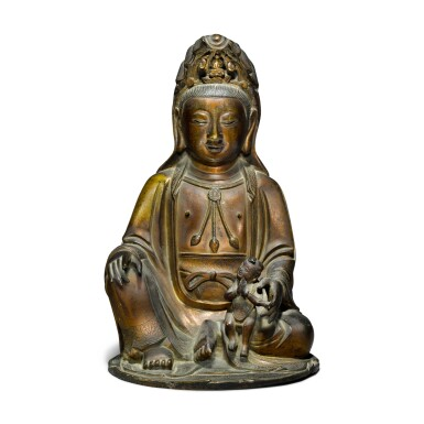 View 1. Thumbnail of Lot 43. A gilt-bronze figure of Guanyin and child, Ming / early Qing dynasty.