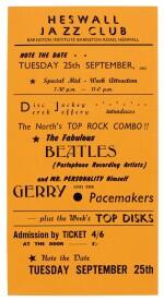 THE BEATLES | Handbill for performance at Heswall Jazz Club, 25 September [1962]